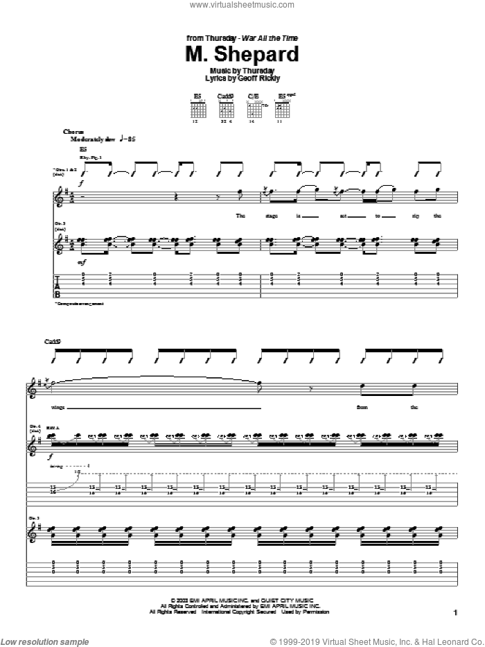M. Shepard sheet music for guitar (tablature) by Thursday, intermediate guitar (tablature). Score Image Preview.