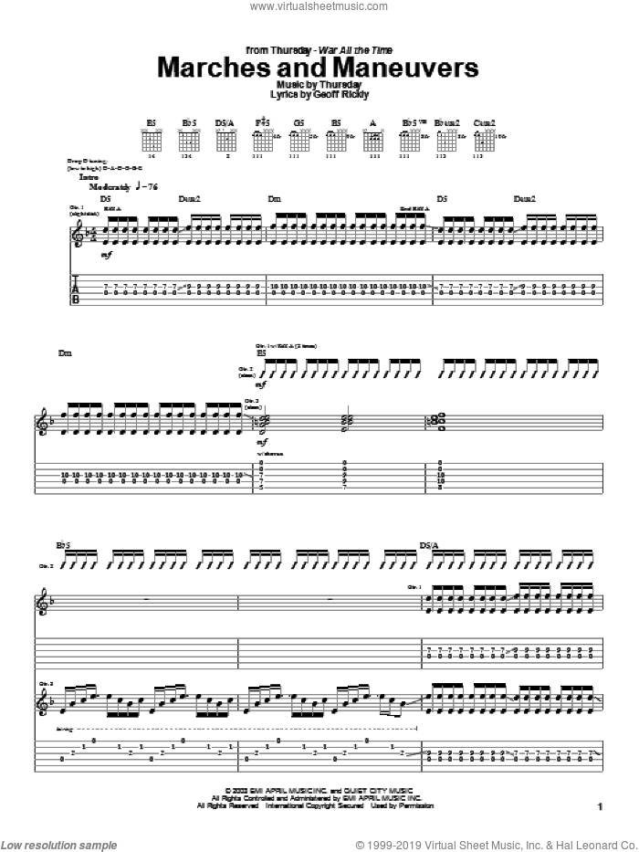 Marches And Maneuvers sheet music for guitar (tablature) by Thursday, intermediate. Score Image Preview.