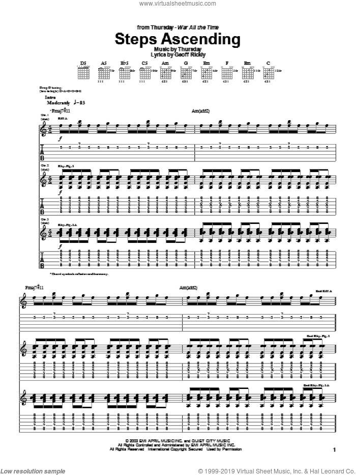 Steps Ascending sheet music for guitar (tablature) by Geoff Rickly