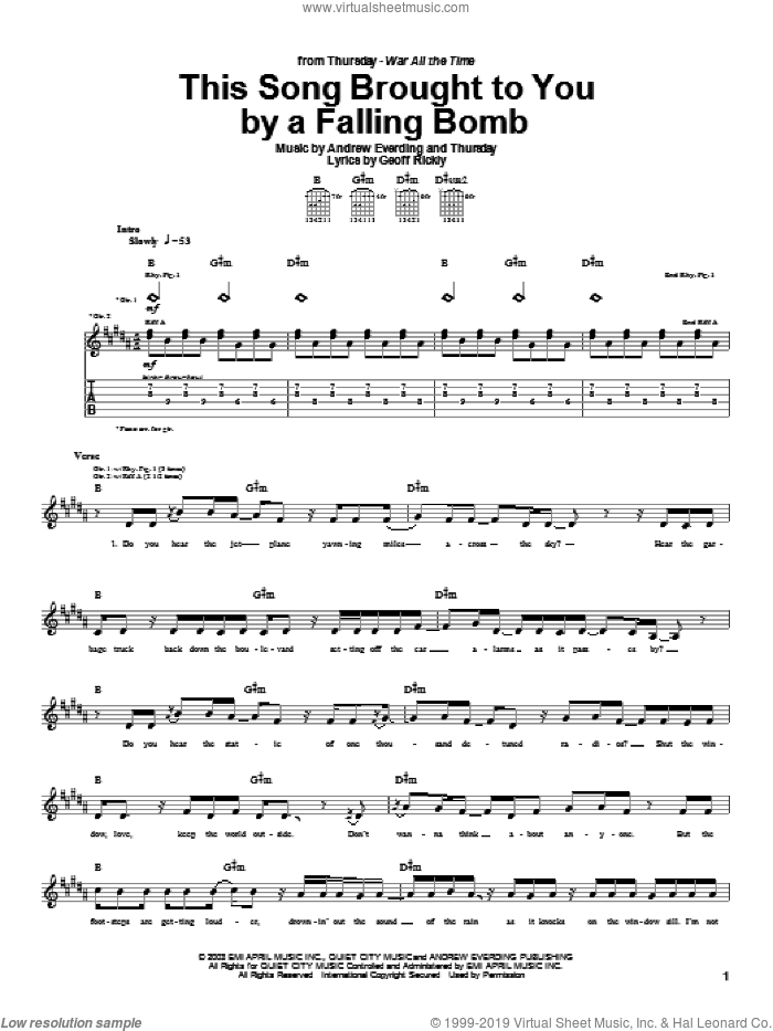 This Song Brought To You By A Falling Bomb sheet music for guitar (tablature) by Thursday, intermediate guitar (tablature). Score Image Preview.