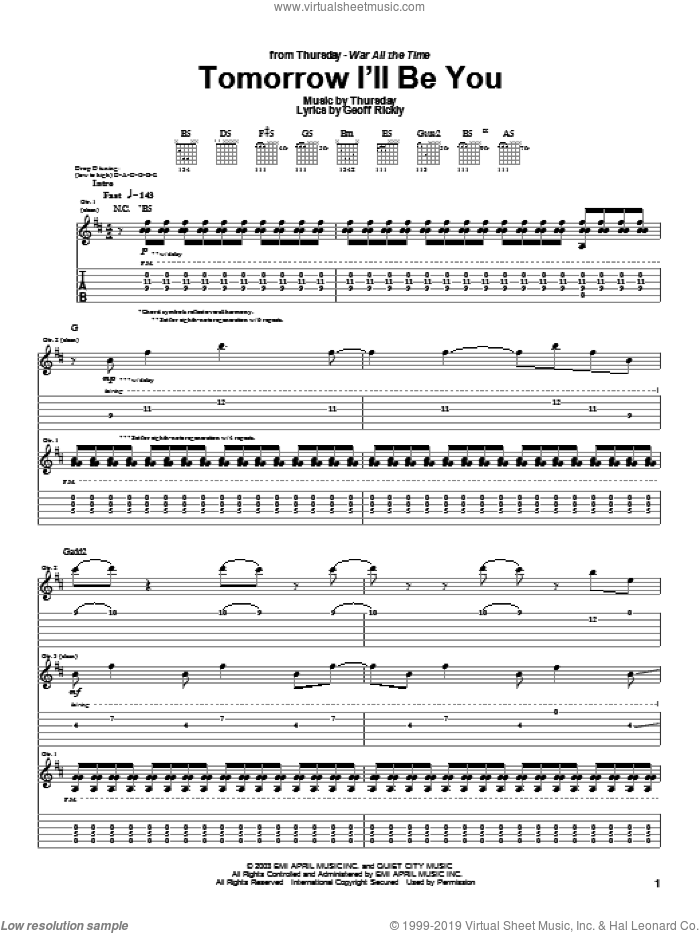 Tomorrow I'll Be You sheet music for guitar (tablature) by Thursday, intermediate. Score Image Preview.