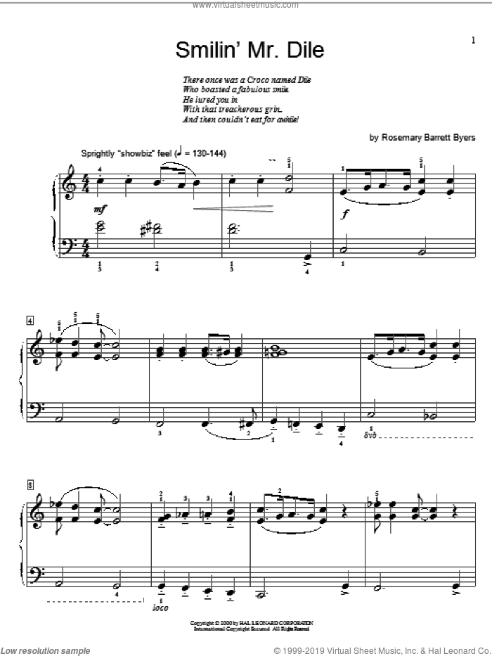 Smilin' Mr. Dile sheet music for piano solo (elementary) by Rosemary Barrett Byers and Miscellaneous, beginner piano (elementary). Score Image Preview.