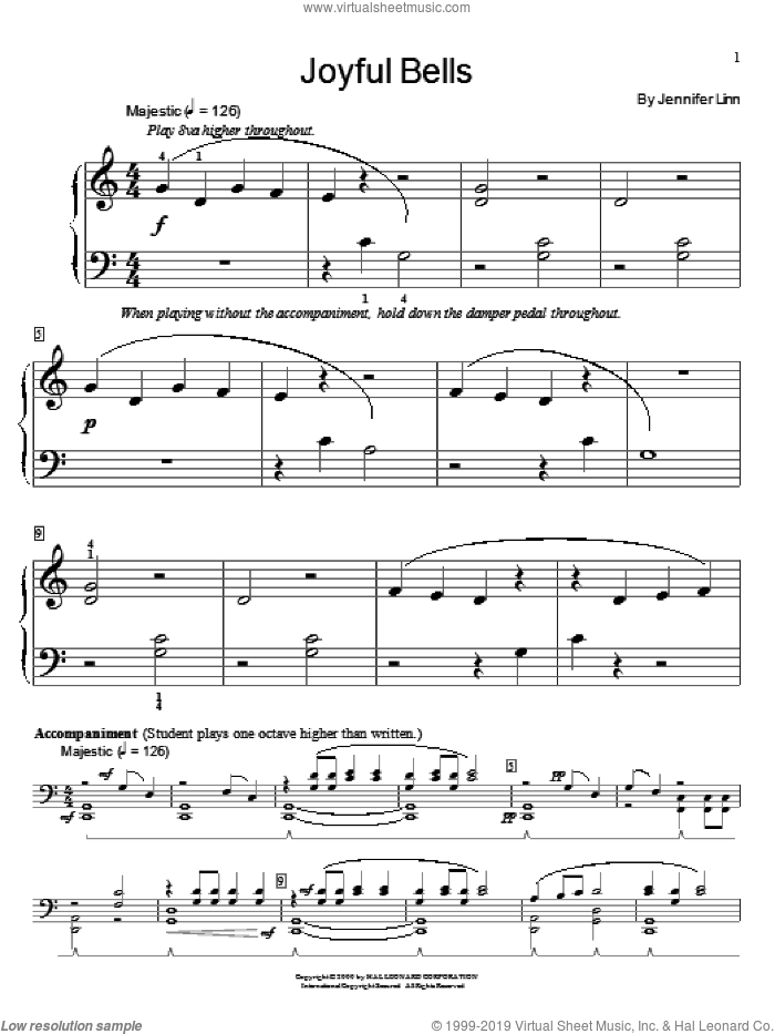 Joyful Bells sheet music for piano solo (elementary) by Jennifer Linn and Miscellaneous, beginner piano (elementary). Score Image Preview.