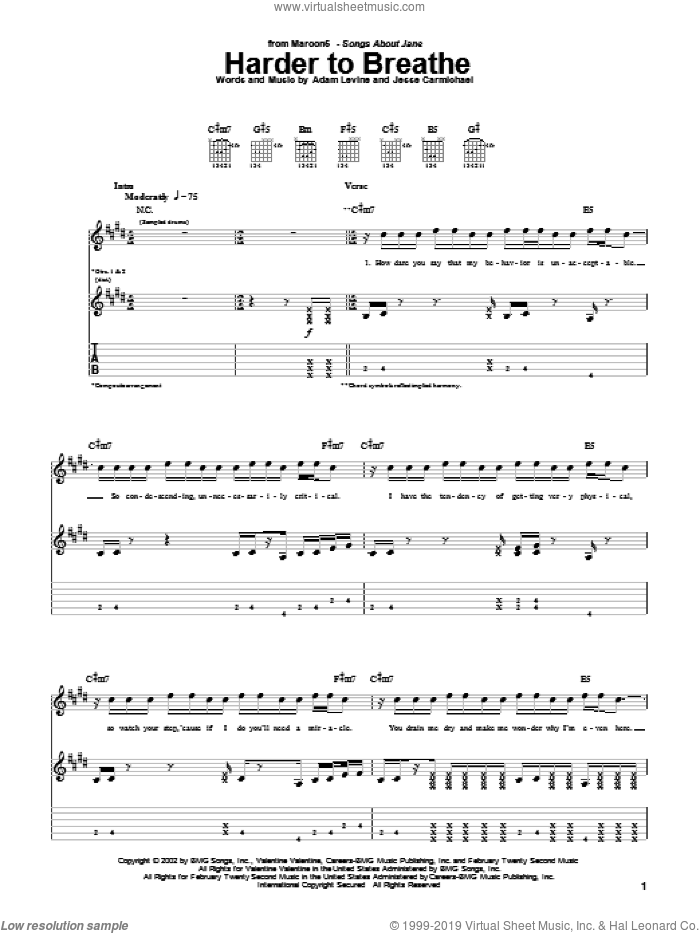 Harder To Breathe sheet music for guitar (tablature) by Maroon 5, Adam Levine and Jesse Carmichael, intermediate. Score Image Preview.