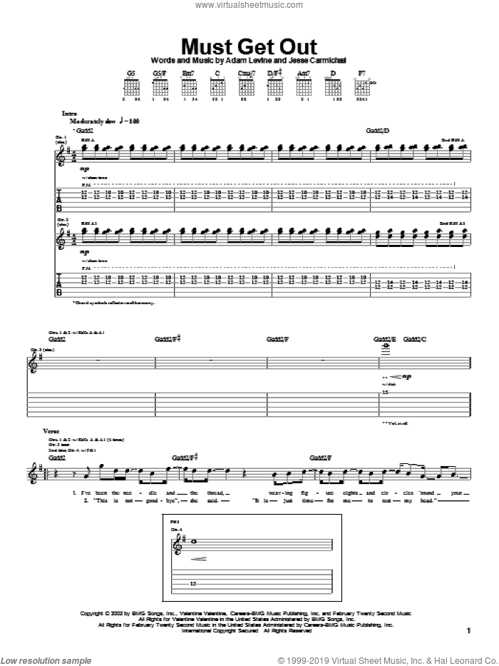 Must Get Out sheet music for guitar (tablature) by Jesse Carmichael, Maroon 5 and Adam Levine. Score Image Preview.