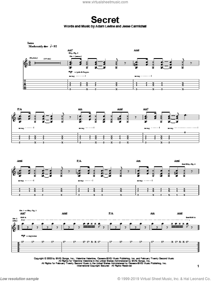 Secret sheet music for guitar (tablature) by Maroon 5, intermediate. Score Image Preview.