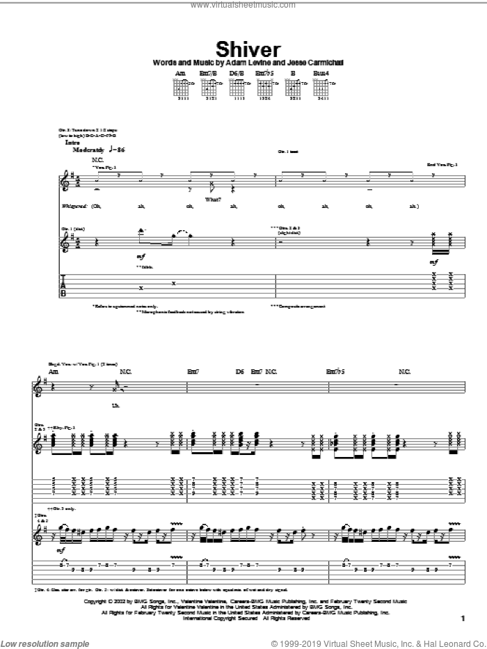 Shiver sheet music for guitar (tablature) by Jesse Carmichael