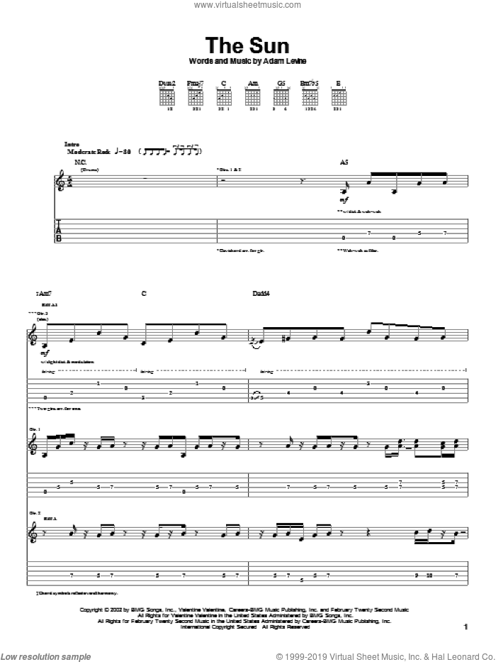 The Sun sheet music for guitar (tablature) by Maroon 5 and Adam Levine, intermediate skill level