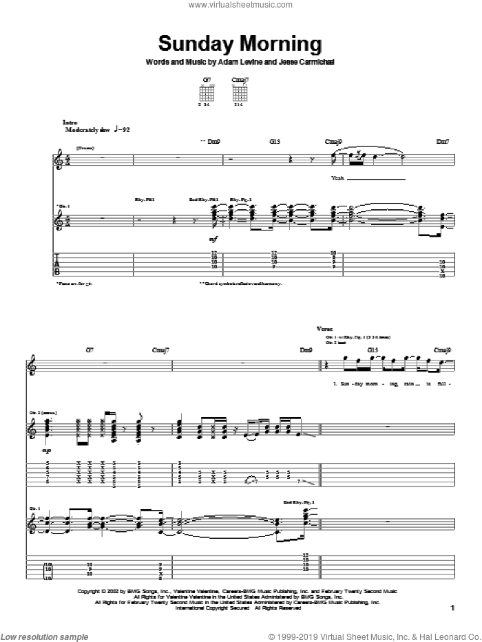 Sunday Morning sheet music for guitar (tablature) by Jesse Carmichael