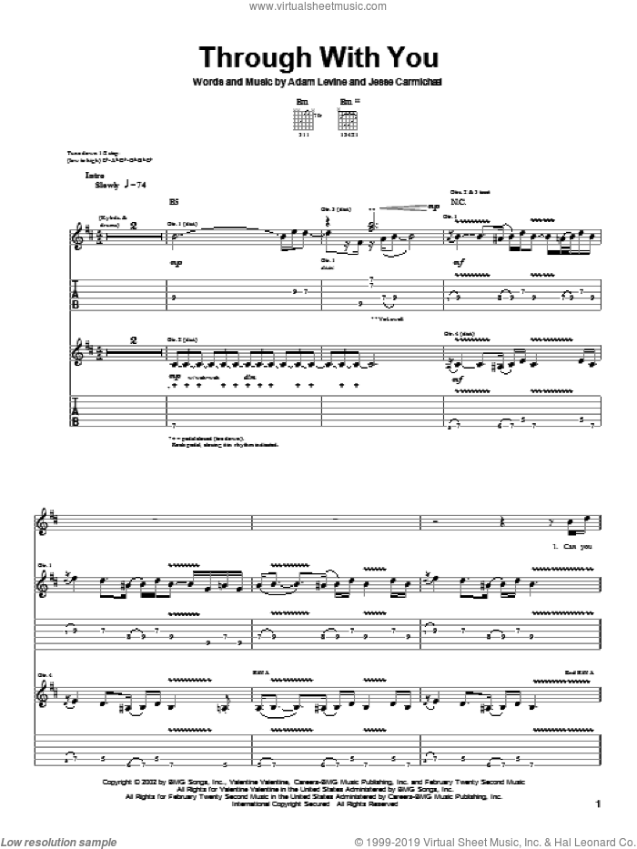 Through With You sheet music for guitar (tablature) by Maroon 5, Adam Levine and Jesse Carmichael, intermediate. Score Image Preview.