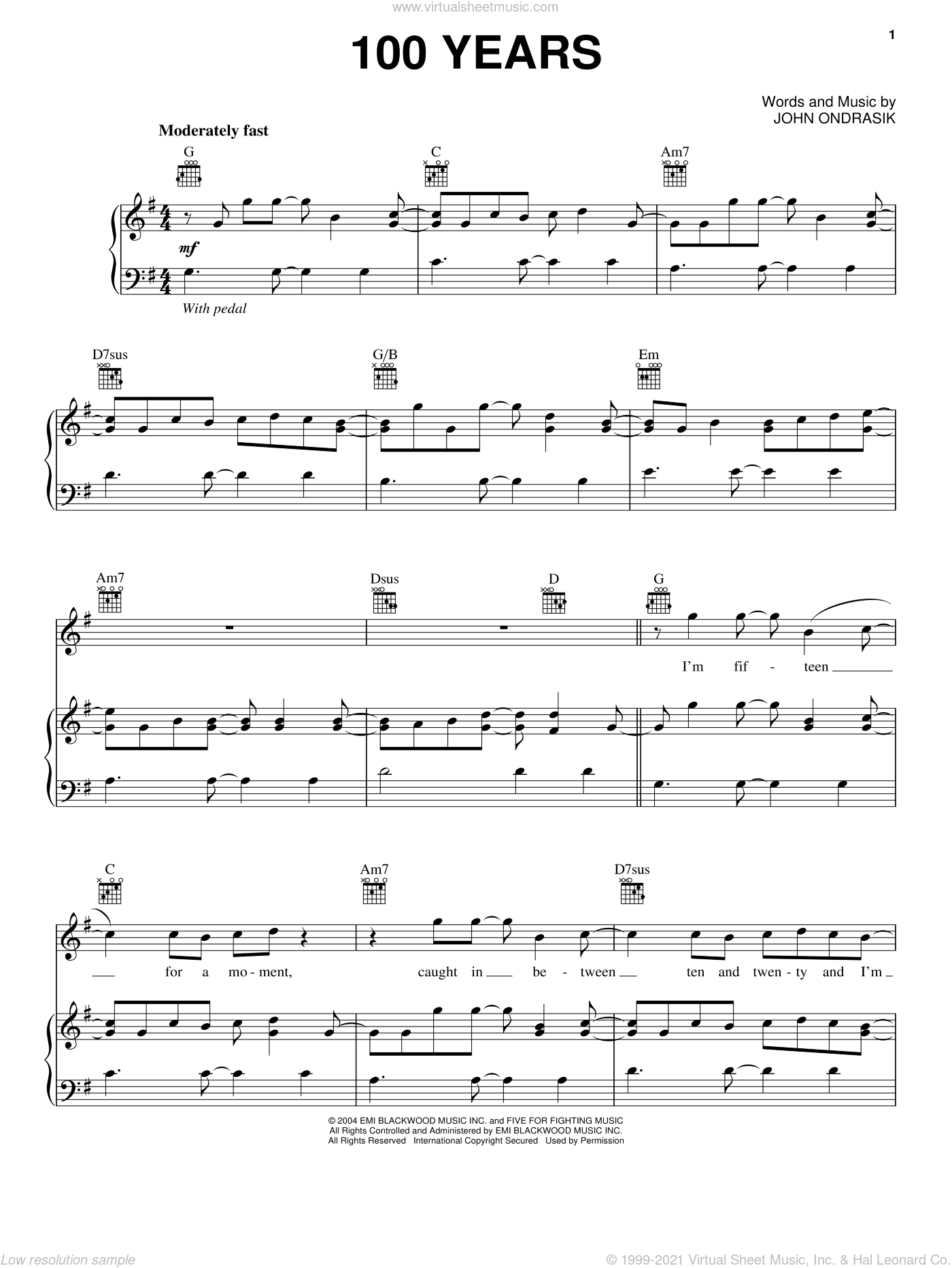 100 Years sheet music for voice, piano or guitar by Five For Fighting and John Ondrasik, intermediate skill level