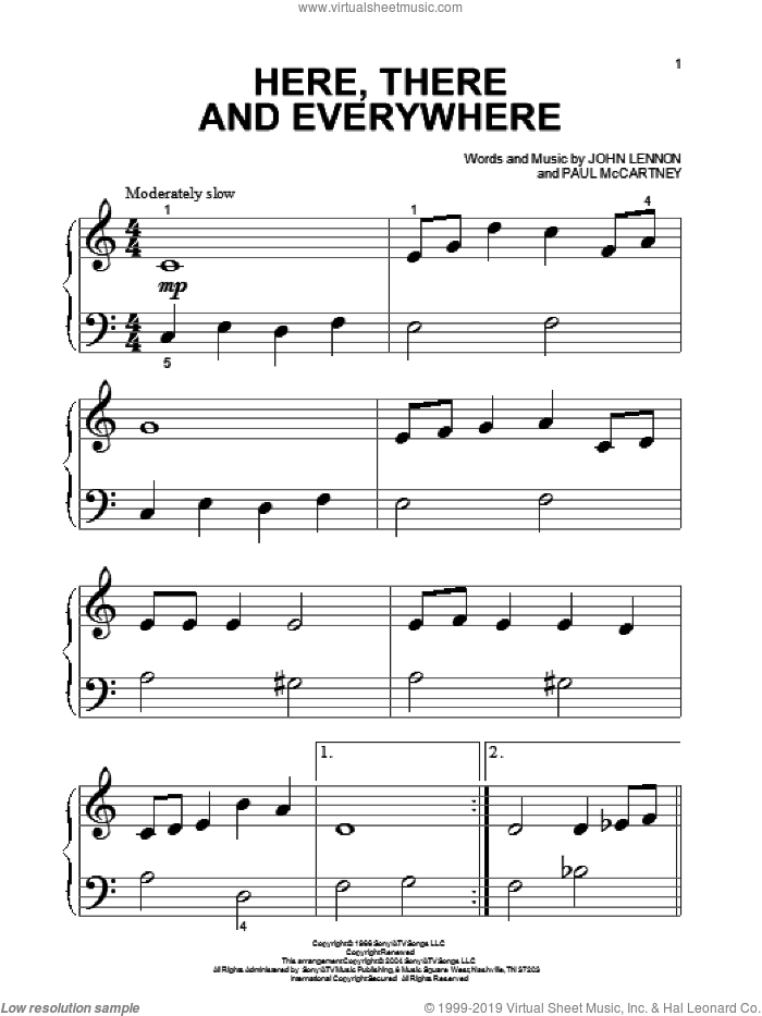 Here, There And Everywhere sheet music for piano solo (big note book) by The Beatles, John Lennon and Paul McCartney, wedding score, easy piano (big note book)