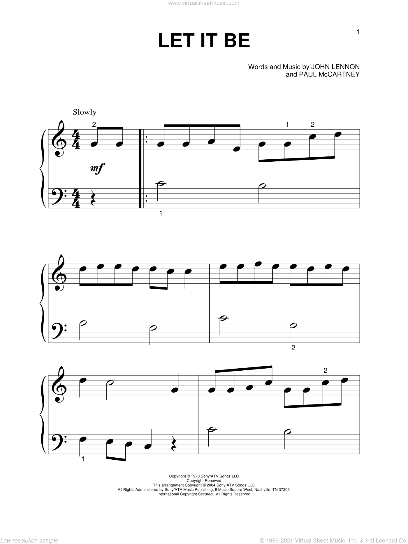 Let It Be sheet music for piano solo (big note book) by The Beatles, John Lennon and Paul McCartney, easy piano (big note book)