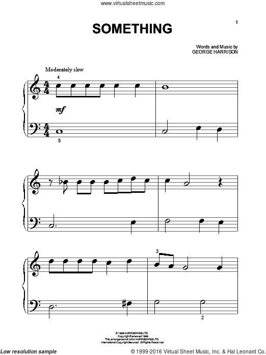 Something sheet music for piano solo (big note book) by George Harrison and The Beatles. Score Image Preview.