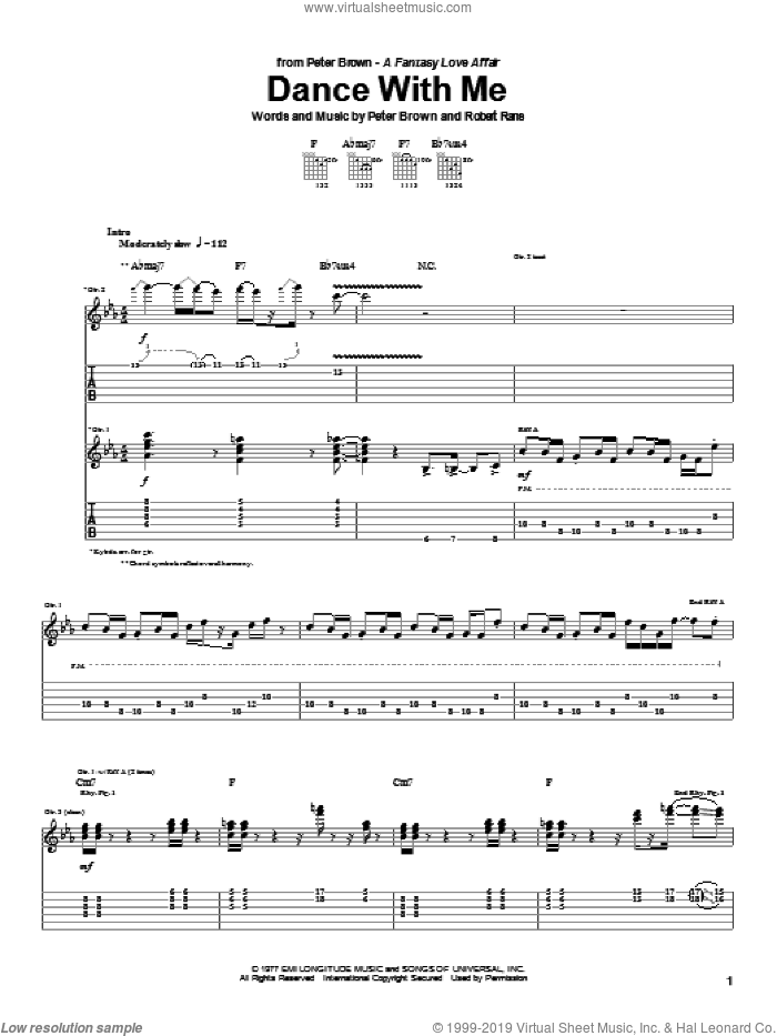 Dance With Me sheet music for guitar (tablature) by Robert Rans, Betty Wright and Pete Brown. Score Image Preview.
