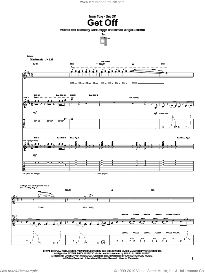 Get Off sheet music for guitar (tablature) by Foxy, Carl Driggs and Ismael Angel Ledesma, intermediate. Score Image Preview.