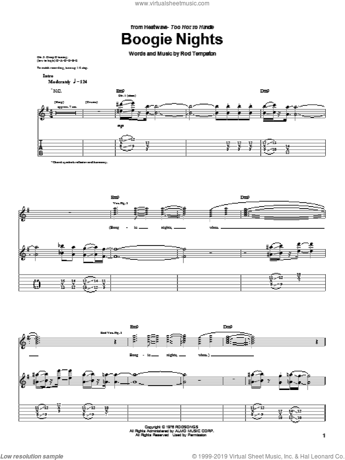 Boogie Nights sheet music for guitar (tablature) by Rod Temperton. Score Image Preview.