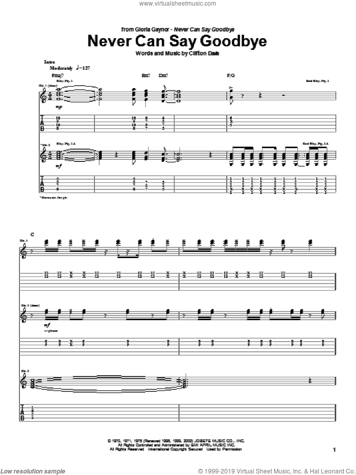 Never Can Say Goodbye sheet music for guitar (tablature) by Gloria Gaynor, Isaac Hayes, The Jackson 5 and Clifton Davis, intermediate skill level