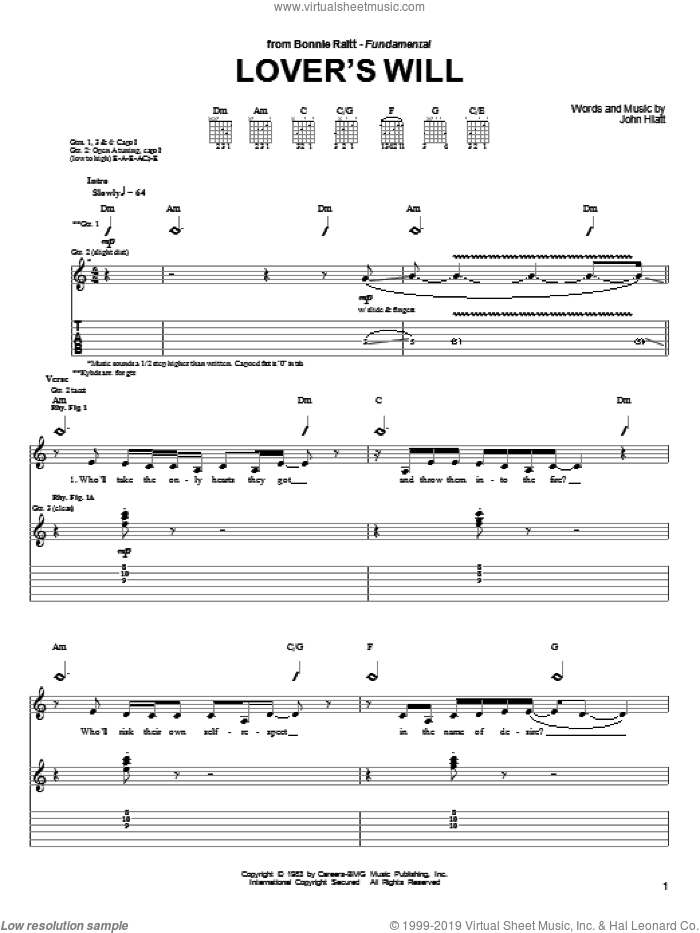 Lover's Will sheet music for guitar (tablature) by Bonnie Raitt and John Hiatt, intermediate skill level