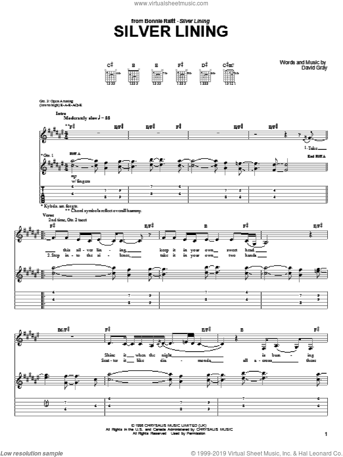 Silver Lining sheet music for guitar (tablature) by Bonnie Raitt and David Gray. Score Image Preview.