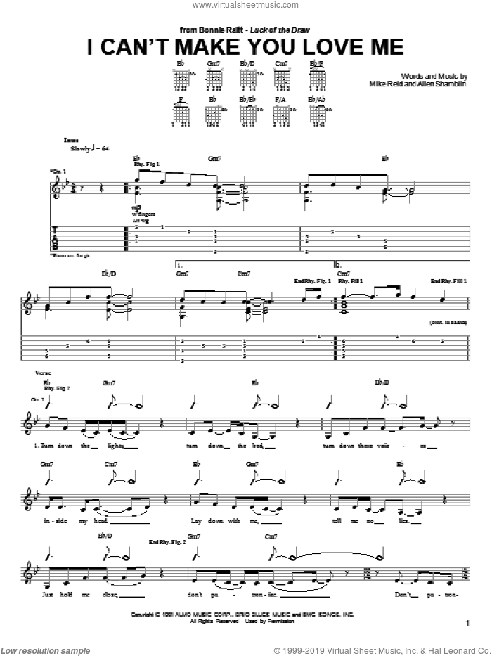 I Can't Make You Love Me sheet music for guitar (tablature) by Mike Reid