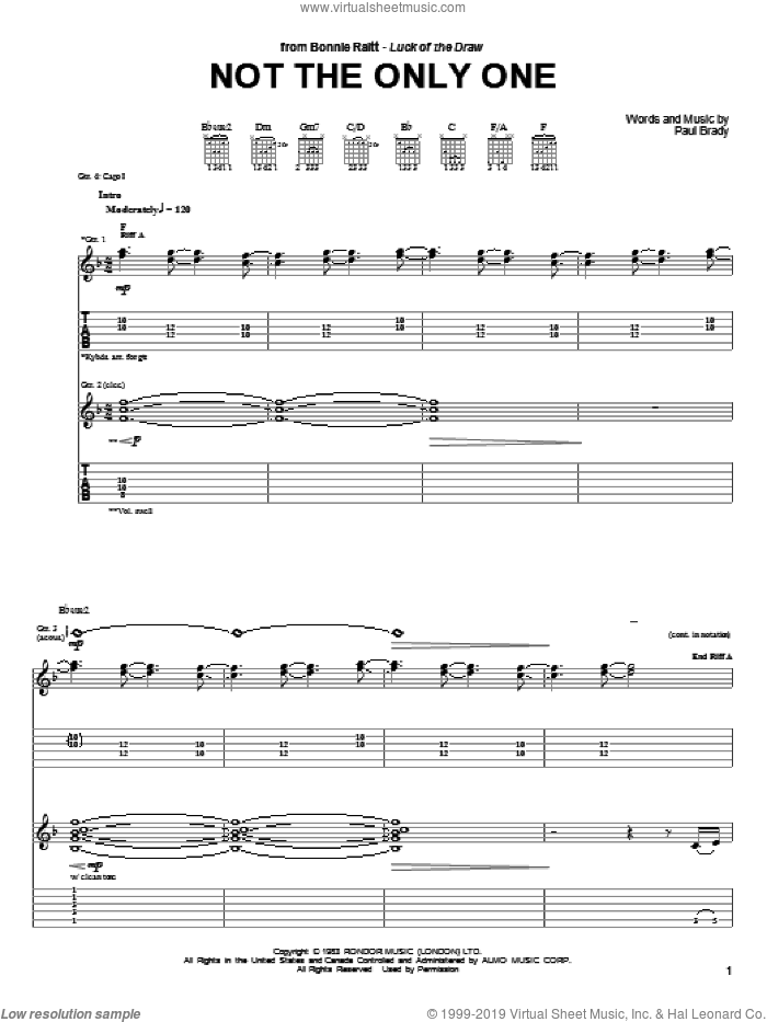 Not The Only One sheet music for guitar (tablature) by Bonnie Raitt and Paul Brady. Score Image Preview.