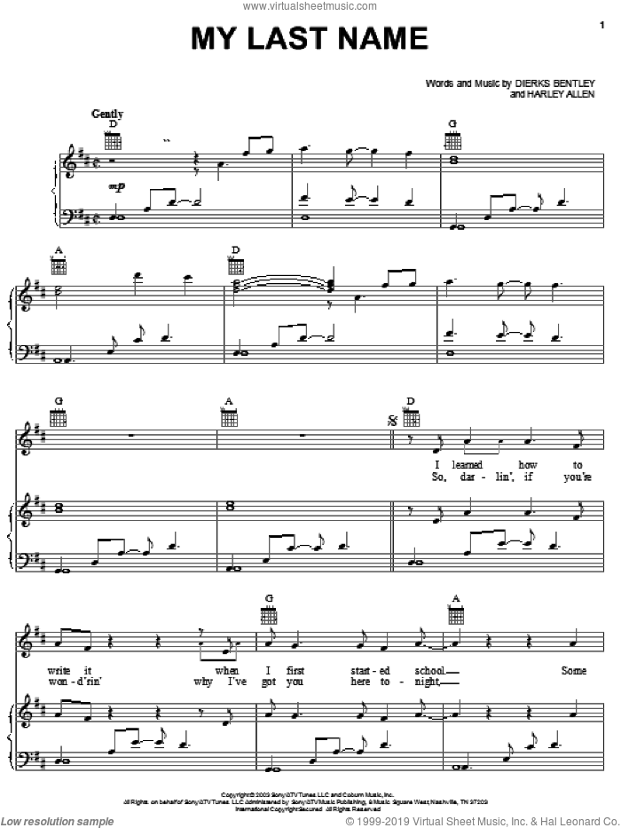 My Last Name sheet music for voice, piano or guitar by Harley Allen. Score Image Preview.