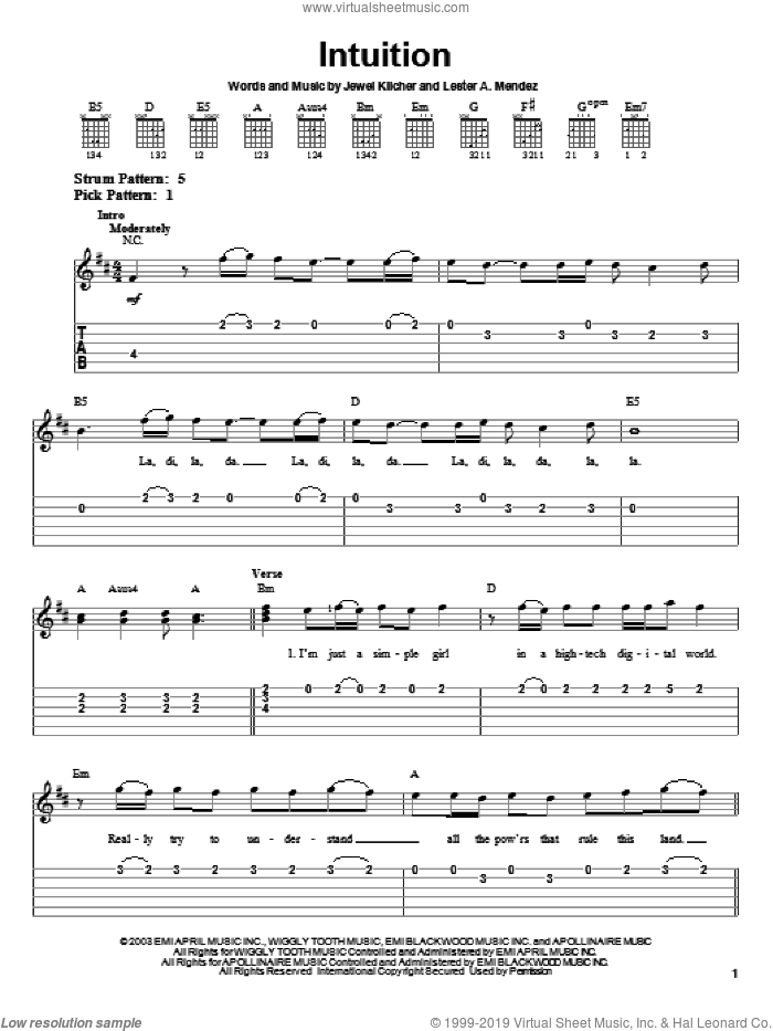 Intuition sheet music for guitar solo (easy tablature) by Jewel, Jewel Kilcher and Lester Mendez, easy guitar (easy tablature). Score Image Preview.