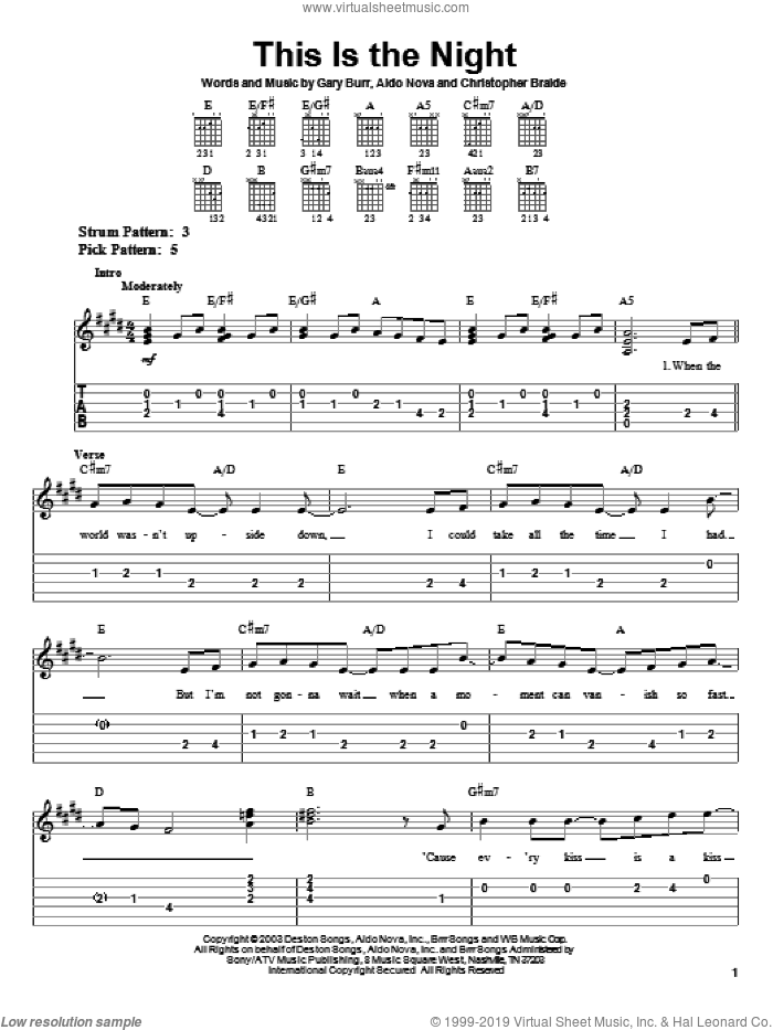 This Is The Night sheet music for guitar solo (easy tablature) by Gary Burr, Clay Aiken, Aldo Nova and Chris Braide. Score Image Preview.