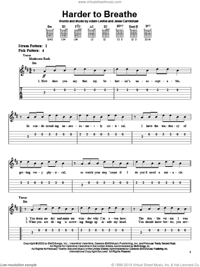 Harder To Breathe sheet music for guitar solo (easy tablature) by Maroon 5, Adam Levine and Jesse Carmichael, easy guitar (easy tablature)