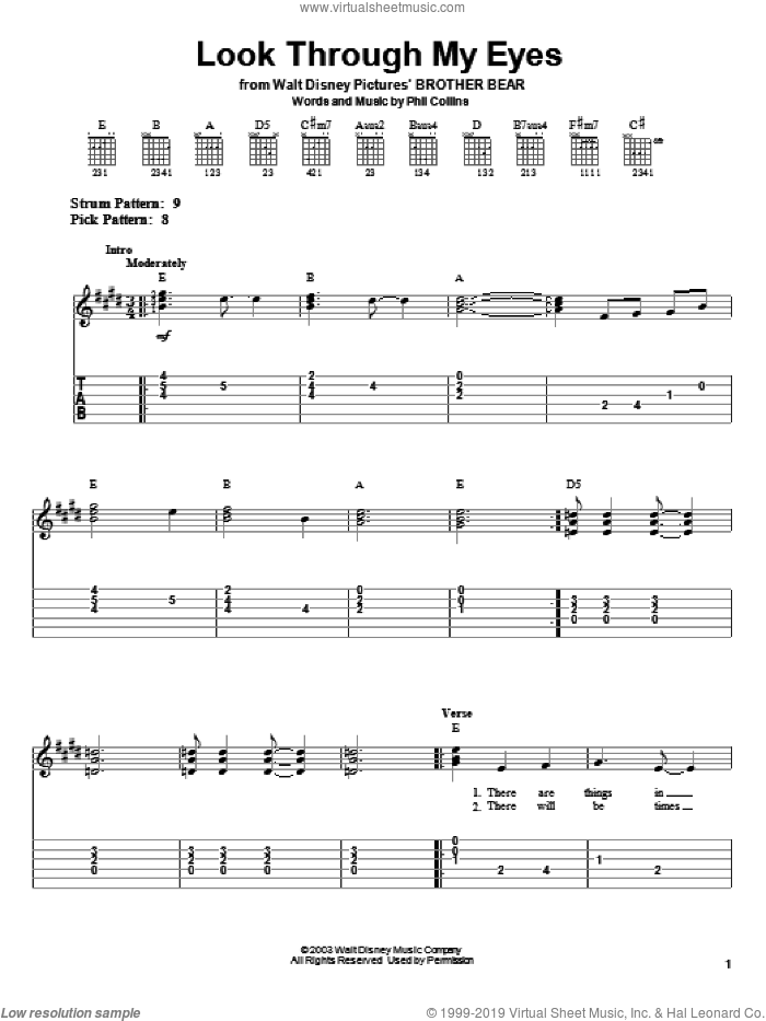 Look Through My Eyes sheet music for guitar solo (easy tablature) by Phil Collins and Brother Bear (Movie), easy guitar (easy tablature)