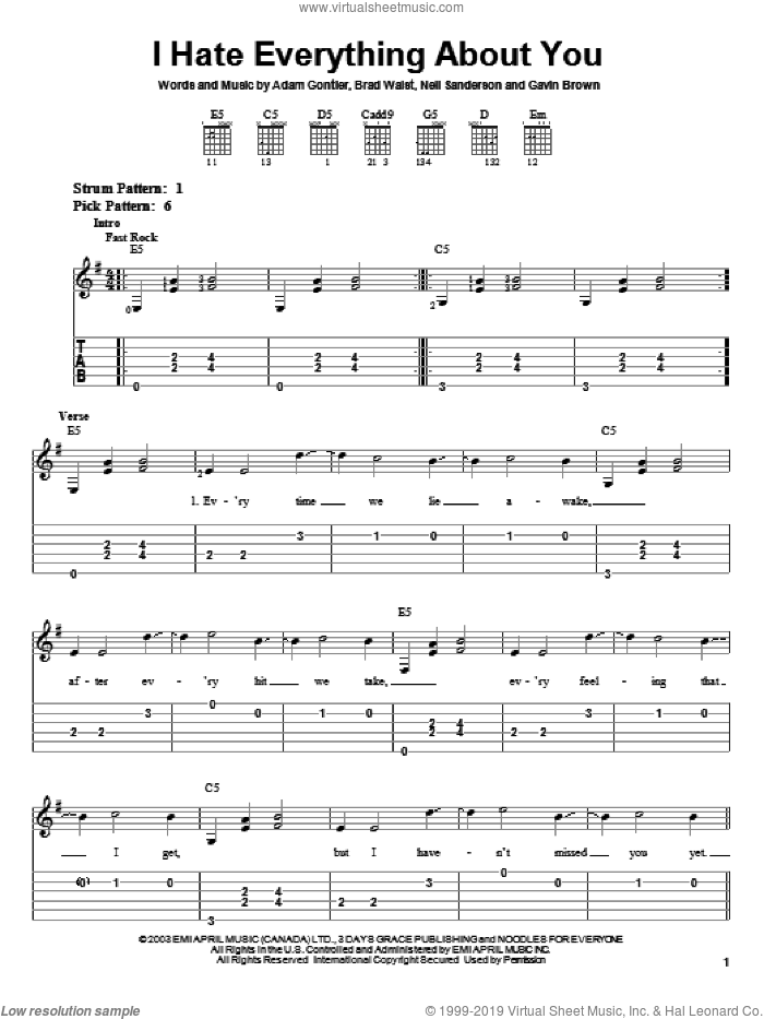 I Hate Everything About You sheet music for guitar solo (easy tablature) by Gavin Brown and Three Days Grace. Score Image Preview.