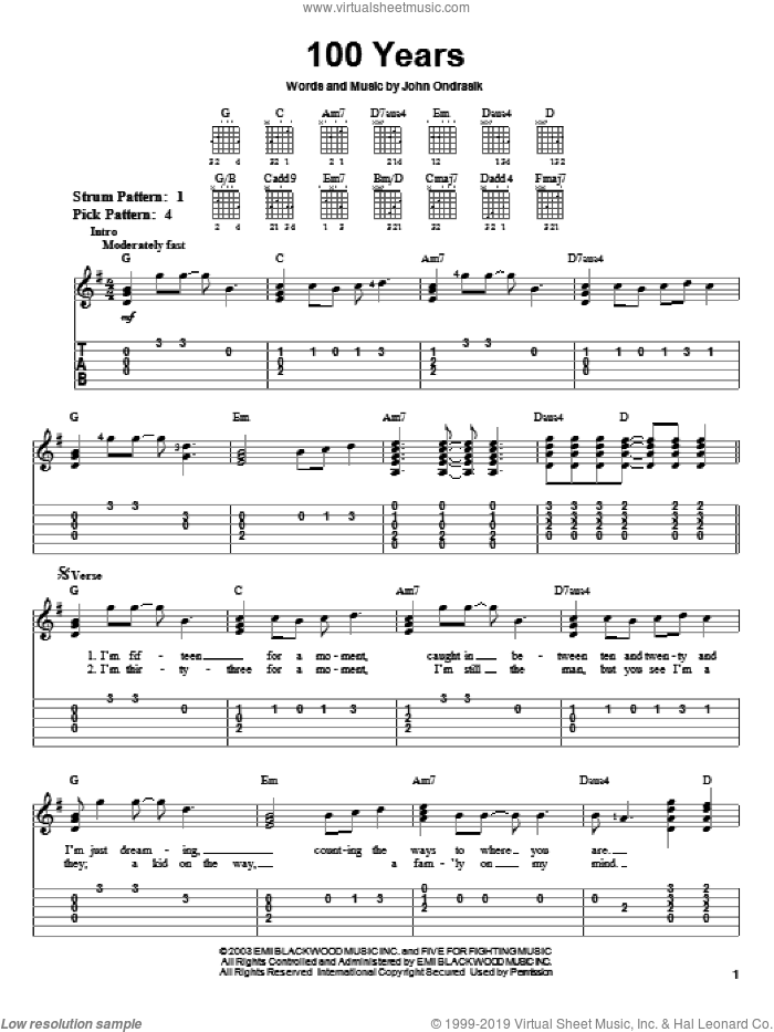 100 Years sheet music for guitar solo (easy tablature) by Five For Fighting and John Ondrasik, easy guitar (easy tablature)