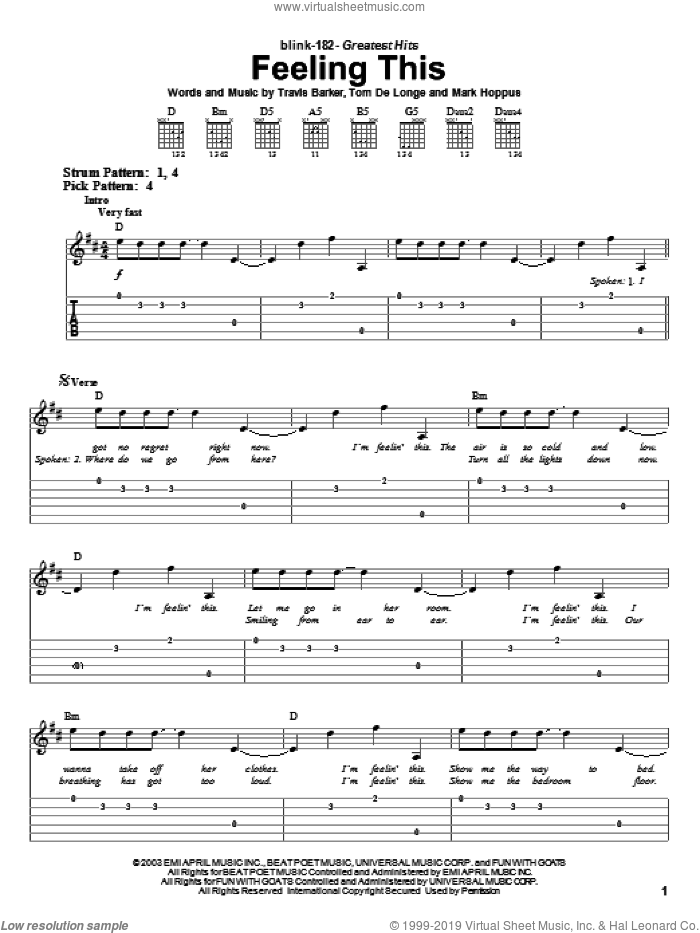 Feeling This sheet music for guitar solo (easy tablature) by Travis Barker, Blink-182, Mark Hoppus and Tom DeLonge. Score Image Preview.