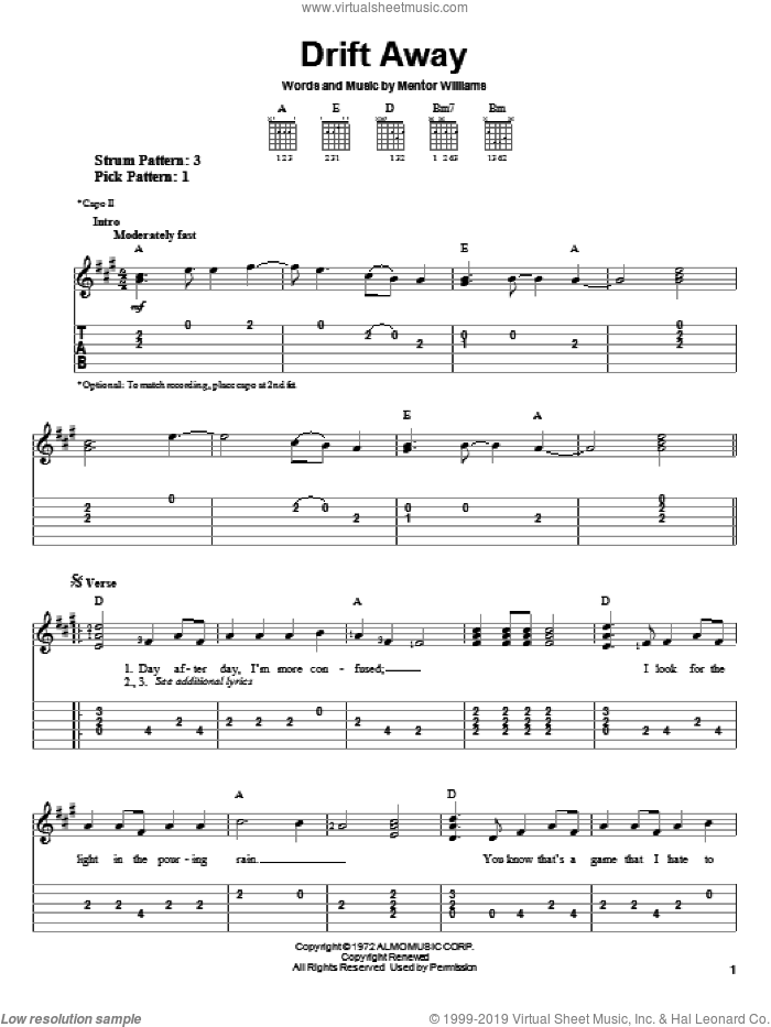 Drift Away sheet music for guitar solo (easy tablature) by Mentor Williams, Dobie Gray and Uncle Kracker. Score Image Preview.