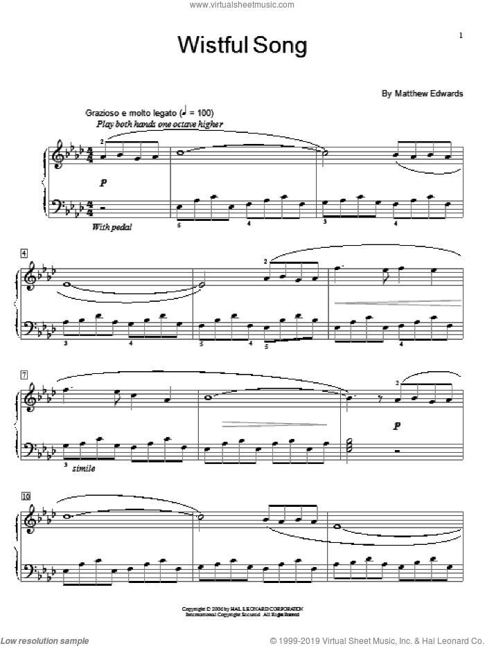 Wistful Song sheet music for piano solo (elementary) by Matthew Edwards and Miscellaneous. Score Image Preview.