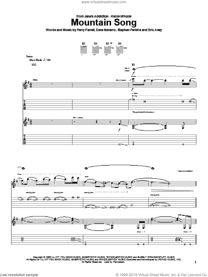 Mountain Song sheet music for guitar (tablature) by Stephen Perkins and Perry Farrell. Score Image Preview.