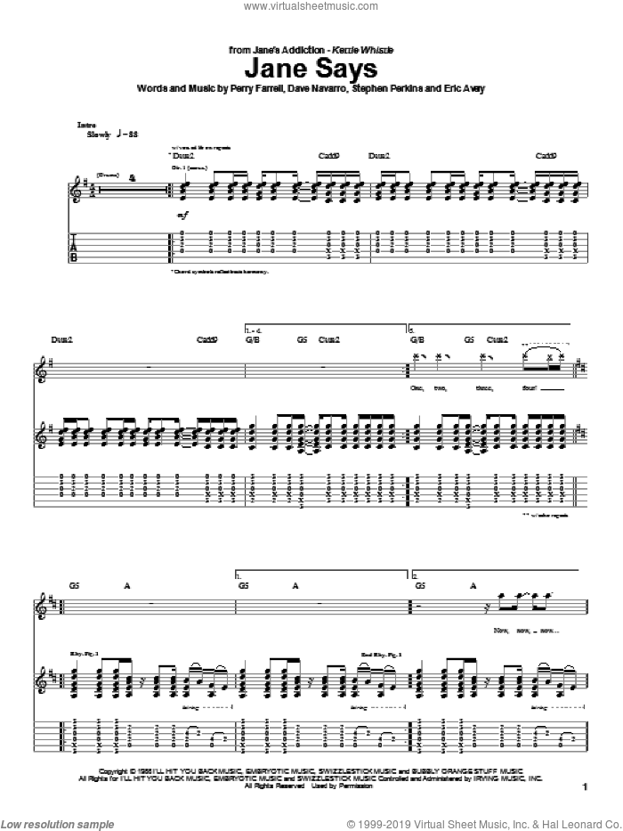 Jane Says sheet music for guitar (tablature) by Stephen Perkins and Perry Farrell. Score Image Preview.