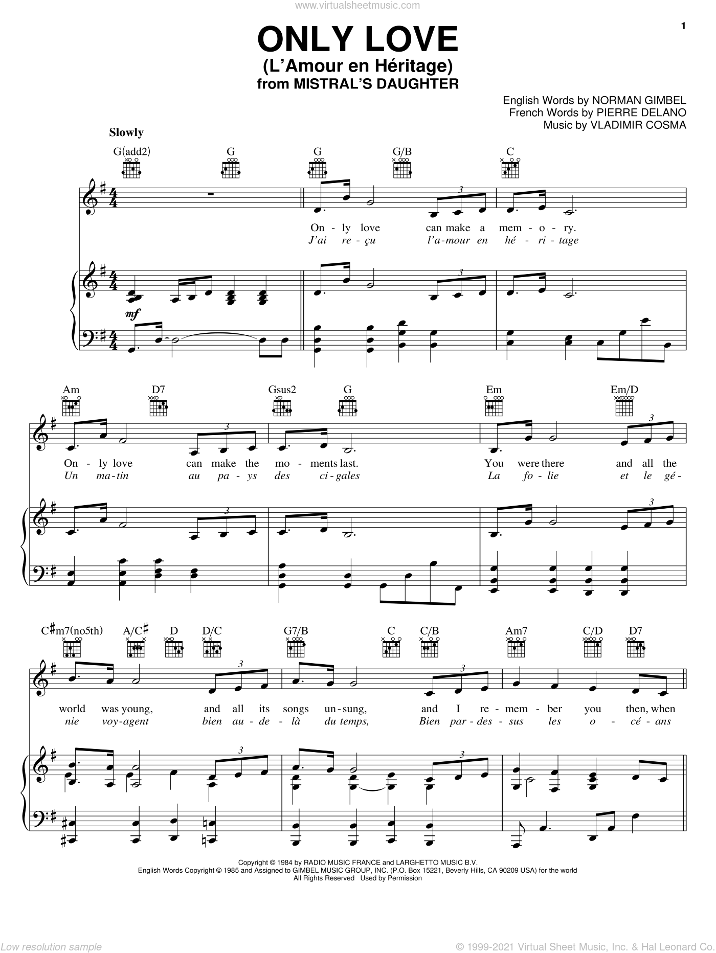 Only Love (L'Amour en Heritage) sheet music for voice, piano or guitar by Vladimir Cosma