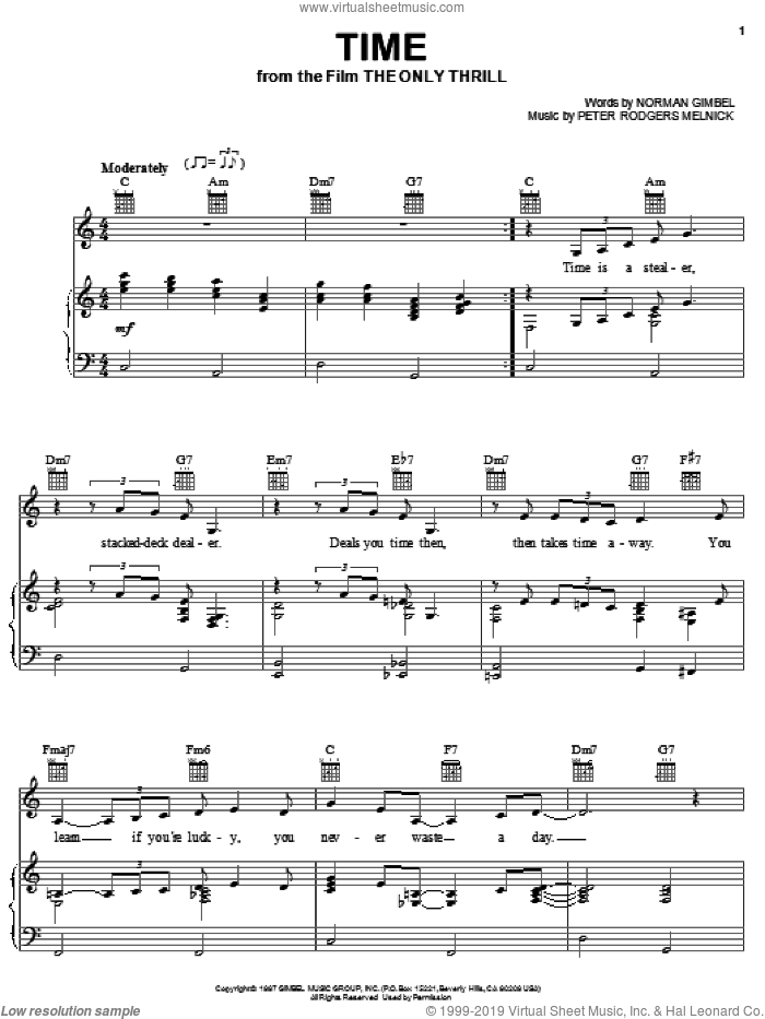 Time sheet music for voice, piano or guitar by Norman Gimbel and Peter Rodgers Melnick, intermediate. Score Image Preview.