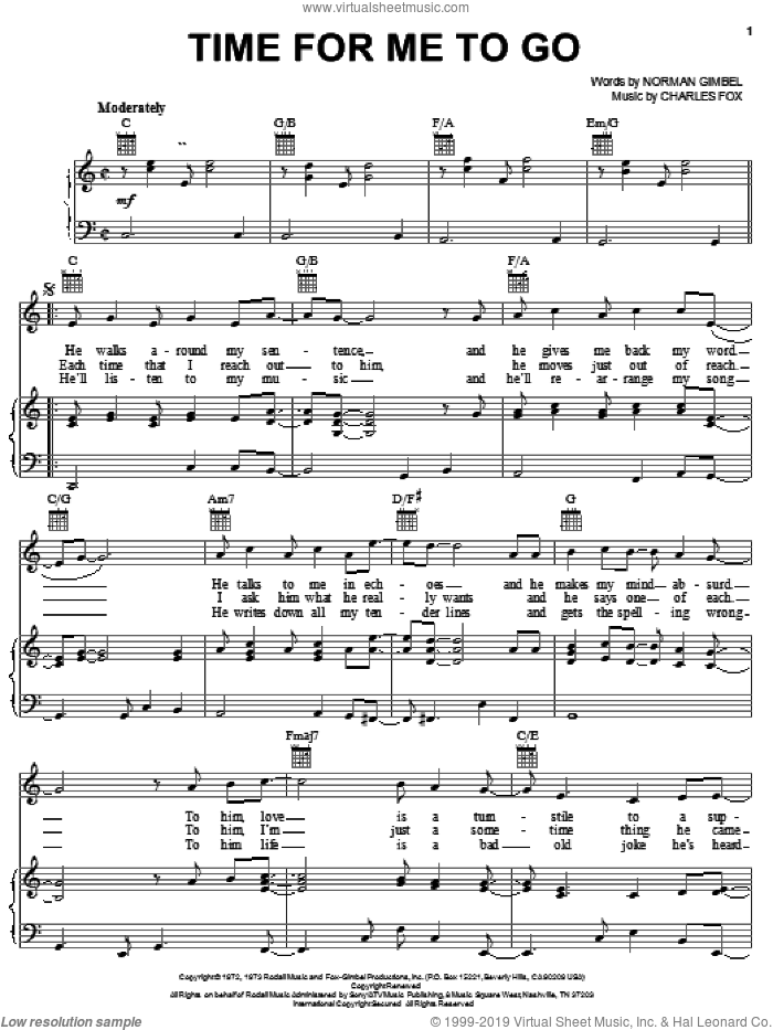 Time For Me To Go sheet music for voice, piano or guitar by Charles Fox and Norman Gimbel. Score Image Preview.