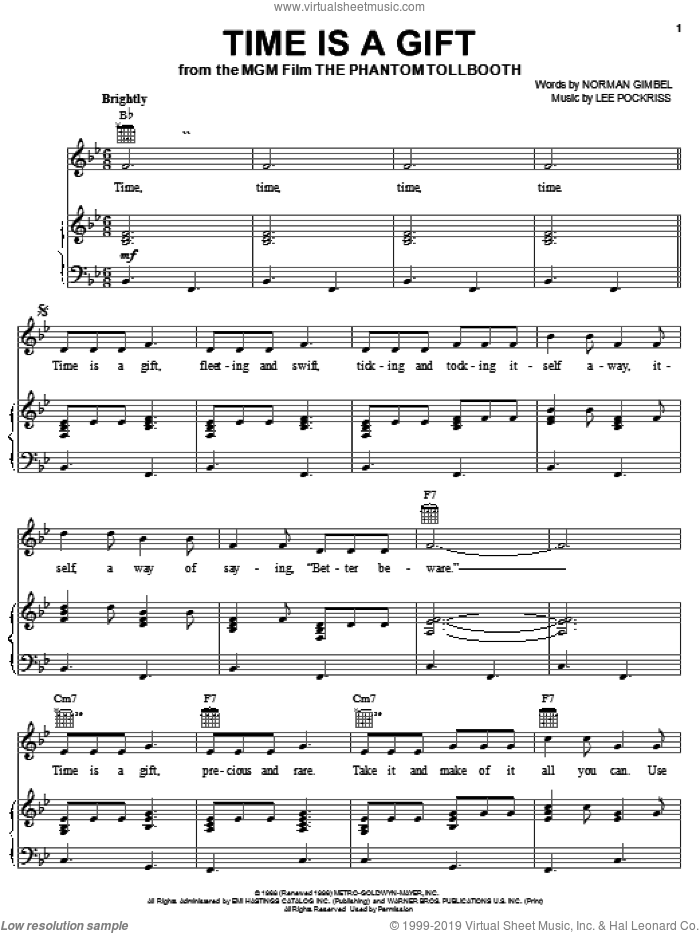 Time Is A Gift sheet music for voice, piano or guitar by Norman Gimbel and Lee Pockriss, intermediate skill level