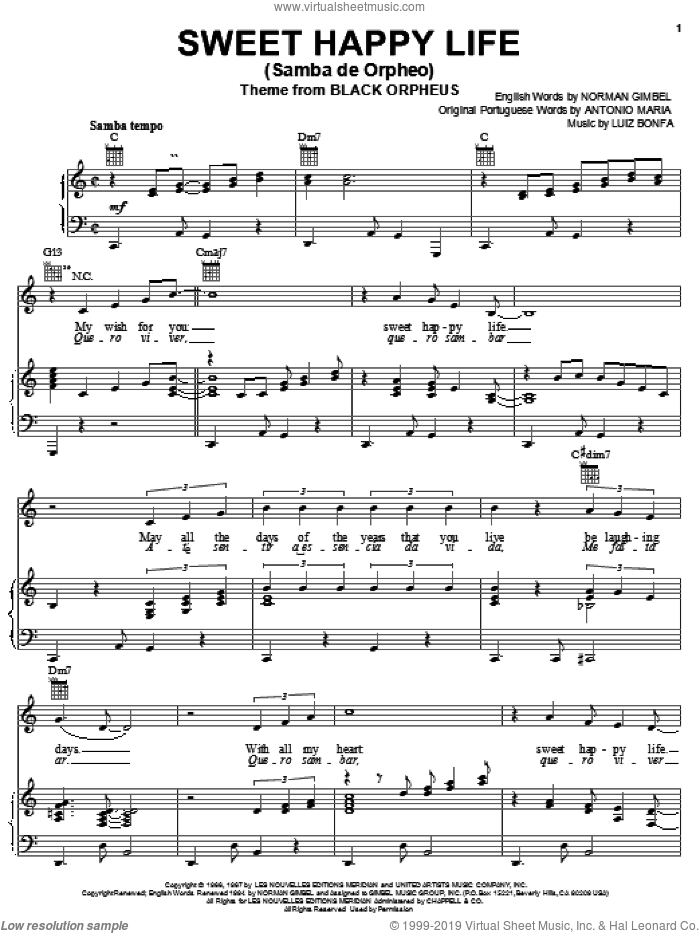 Sweet Happy Life (Samba de Orpheo) sheet music for voice, piano or guitar by Norman Gimbel, Peggy Lee, Rosemary Clooney, Antonio Maria and Luiz Bonfa, intermediate skill level