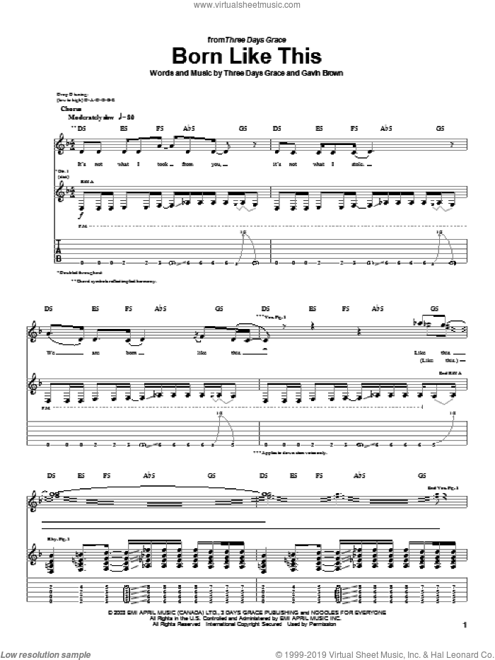 Born Like This sheet music for guitar (tablature) by Three Days Grace and Gavin Brown, intermediate skill level