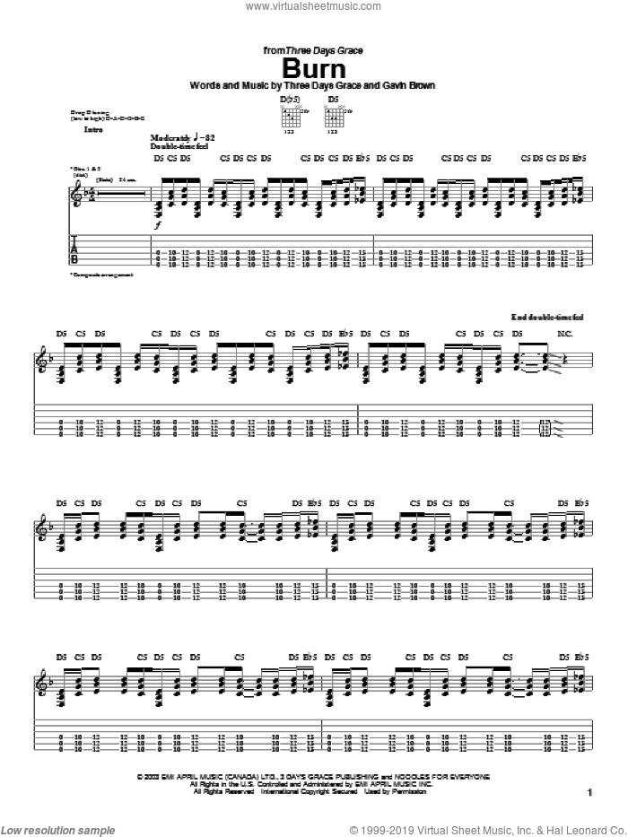 Burn sheet music for guitar (tablature) by Gavin Brown and Three Days Grace. Score Image Preview.