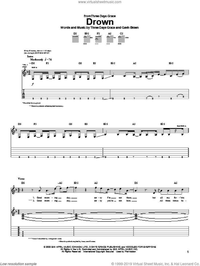 Drown sheet music for guitar (tablature) by Three Days Grace and Gavin Brown, intermediate. Score Image Preview.