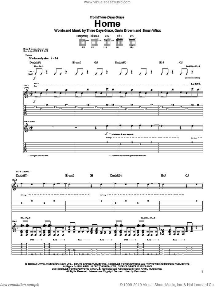 Home sheet music for guitar (tablature) by Simon Wilcox, Gavin Brown and Three Days Grace. Score Image Preview.