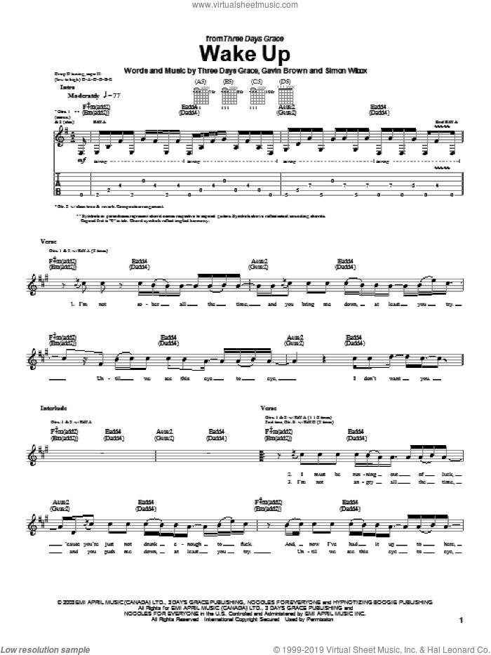 Wake Up sheet music for guitar (tablature) by Three Days Grace and Gavin Brown, intermediate guitar (tablature). Score Image Preview.