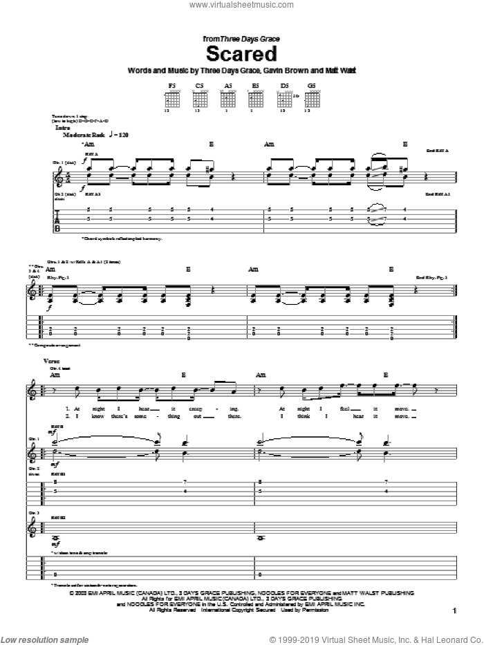 Scared sheet music for guitar (tablature) by Three Days Grace and Gavin Brown. Score Image Preview.