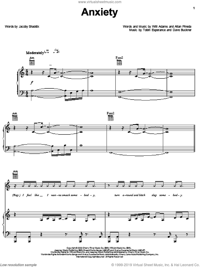 Anxiety sheet music for voice, piano or guitar by Black Eyed Peas, Allan Pineda, Jacoby Shaddix and Will Adams, intermediate skill level